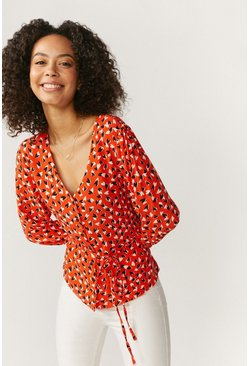 Red Button Through V Neck Blouse