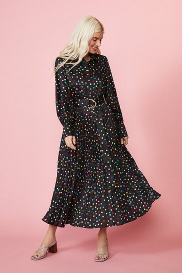 Multi Pleated Skirt Long Sleeve Shirt Dress