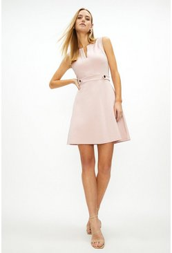 Blush Ponte Waist Button Detail Dress
