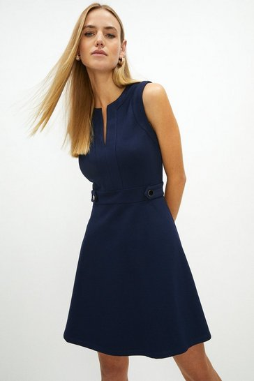 Navy Ponte Waist Button Detail Dress
