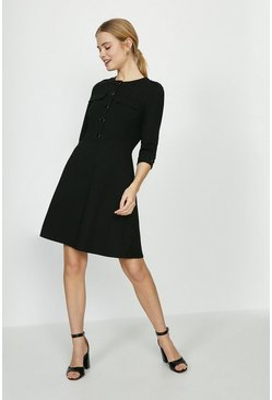Black Button Detail Ponte Skater Dress