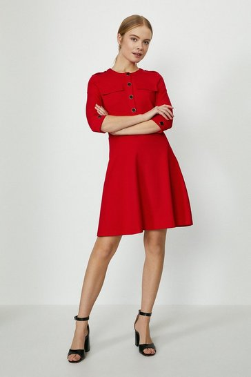 Red Button Detail Ponte Skater Dress