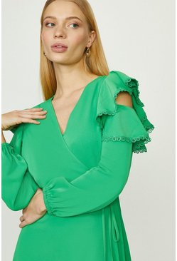 Green Cold Shoulder Lace Trimmed Dress