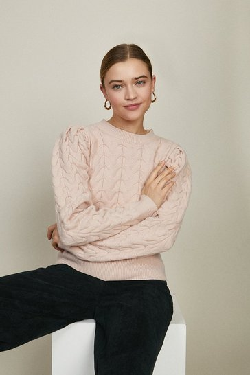 Blush Wild Flower Texture Knit Jumper