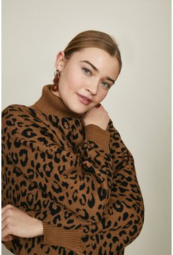 Brown Wild Flower High Neck Leopard Print Jumper