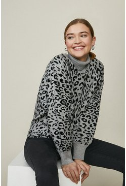 Grey Wild Flower High Neck Leopard Print Jumper