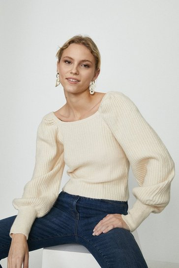 Ivory Wild Flower Puff Sleeve Ribbed Jumper