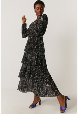 Black Tiered Spot Maxi Dress