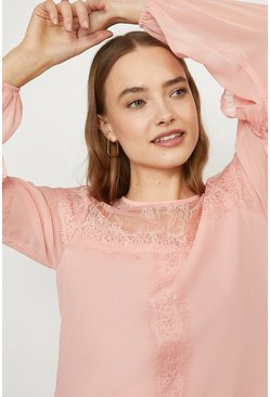 Blush Plain Frill Trim Blouse