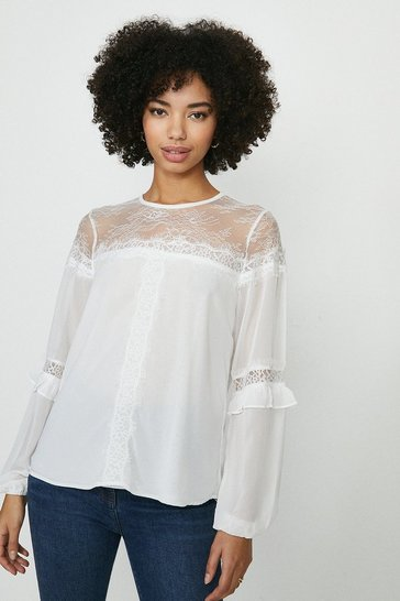 Ivory Plain Frill Trim Blouse