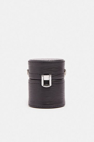 Black Chain Strap Mini Cylinder Bag