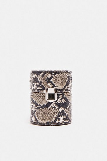 Snake Chain Strap Mini Cylinder Bag