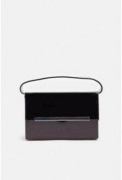 Black Patent Rectangle Box Bag With Chain
