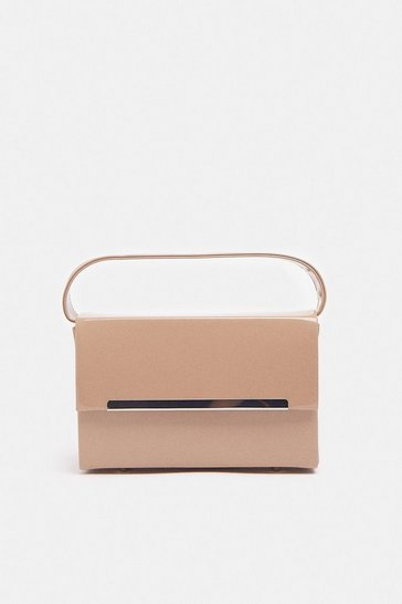 Nude Patent Rectangle Box Bag With Chain