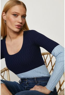 Blue Scoop Neck Knitted Jumper