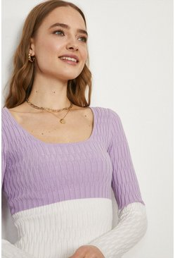 Lilac Scoop Neck Knitted Jumper