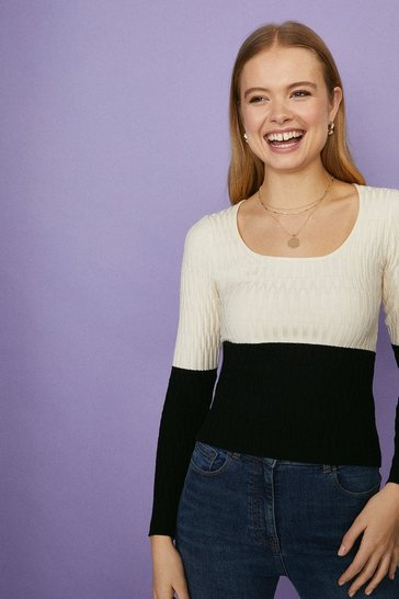 Mono Scoop Neck Knitted Jumper