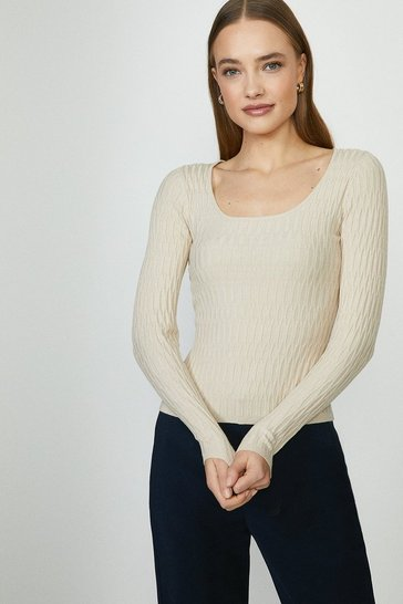 Oatmeal Scoop Neck Knitted Jumper