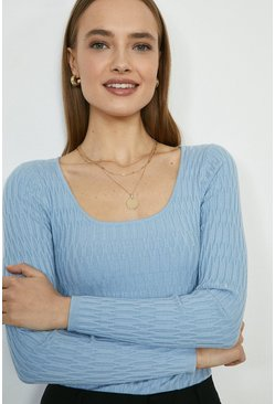 Sky Scoop Neck Knitted Jumper
