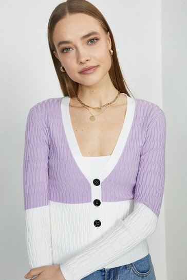 Lilac V Neck Knitted Cardigan