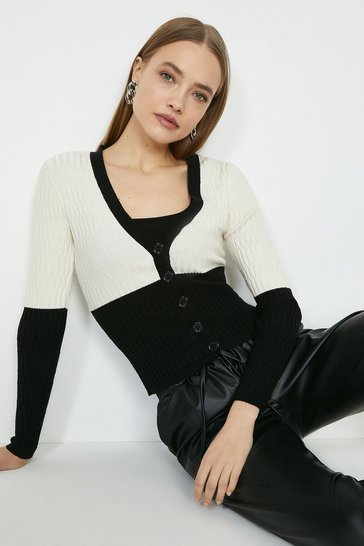 Mono V Neck Knitted Cardigan