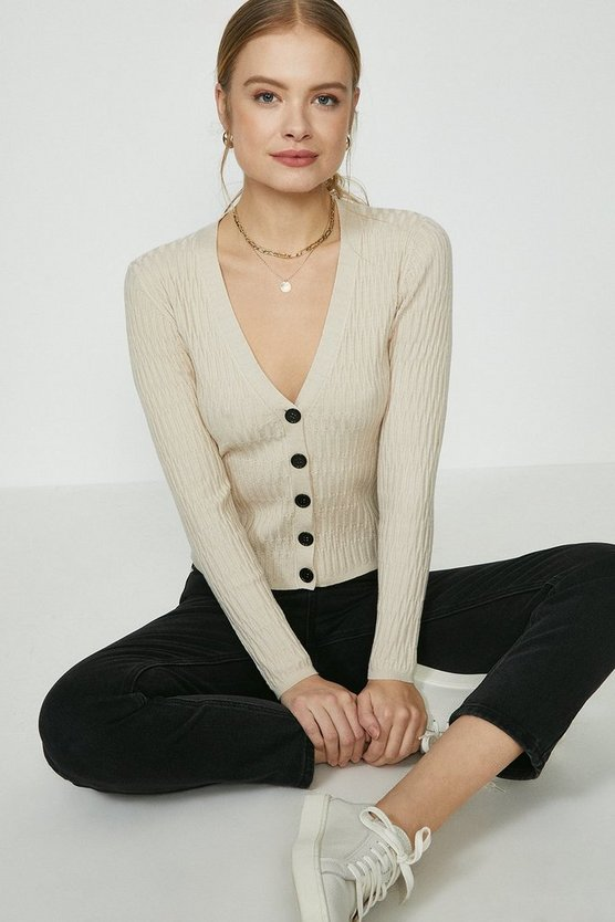 Oatmeal V Neck Knitted Cardigan