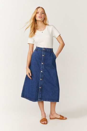 Blue Button Through Denim Midi Skirt