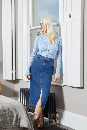 Blue Split Front Denim Midi Skirt