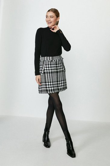 Mono Tweed A-Line Skirt