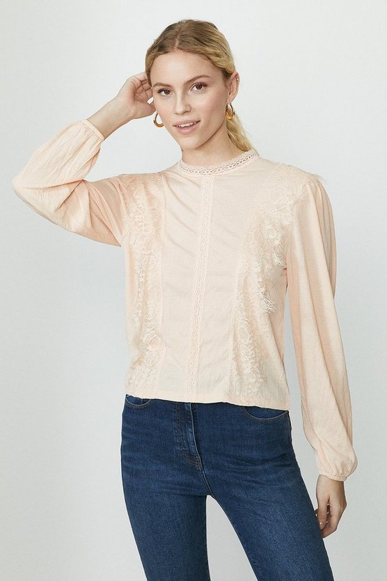 Blush Scallop Lace Detail Top