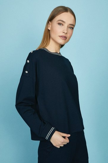 Ink Tipped Neck Detail Sweatshirt