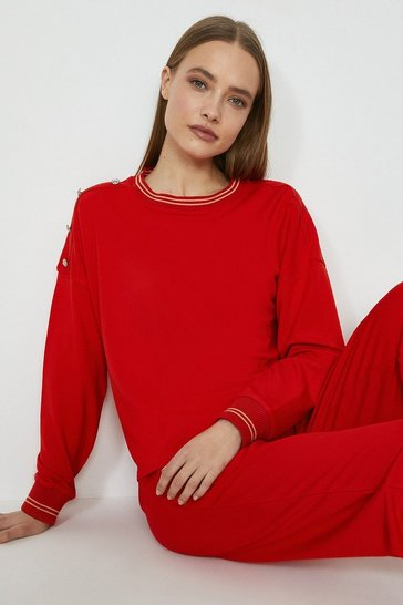 Red Tipped Neck Detail Sweatshirt