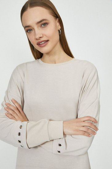 Stone Eyelet And Rib Cuff Detail Sweat