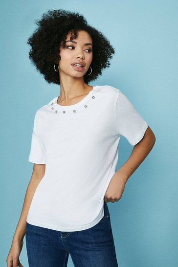 White Gem Neck T-Shirt