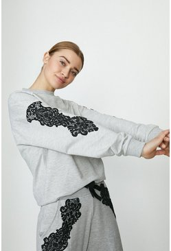 Grey marl Lace Detail Sweatshirt