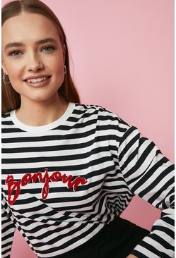 Ivory Bonjour Long Sleeve Stripe Top