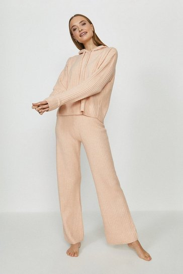 Blush Brave Soul Soft Knit Wide Leg Lounge Set