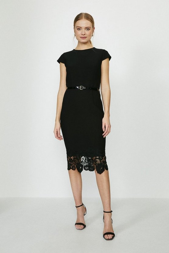Black Crepe And Lace Shift Dress