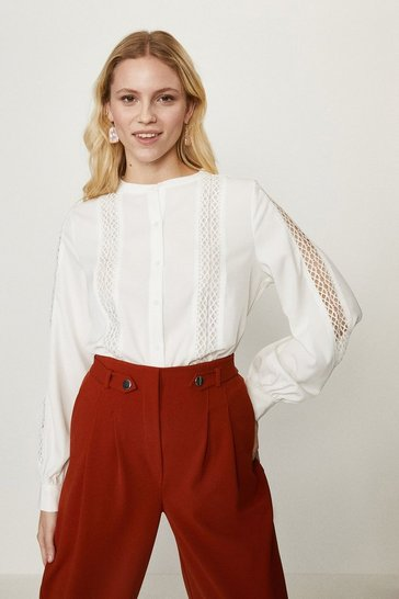 White Crochet Trim Lace Insert Blouse