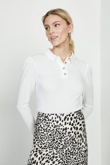 Ivory Textured Jersey Polo Top