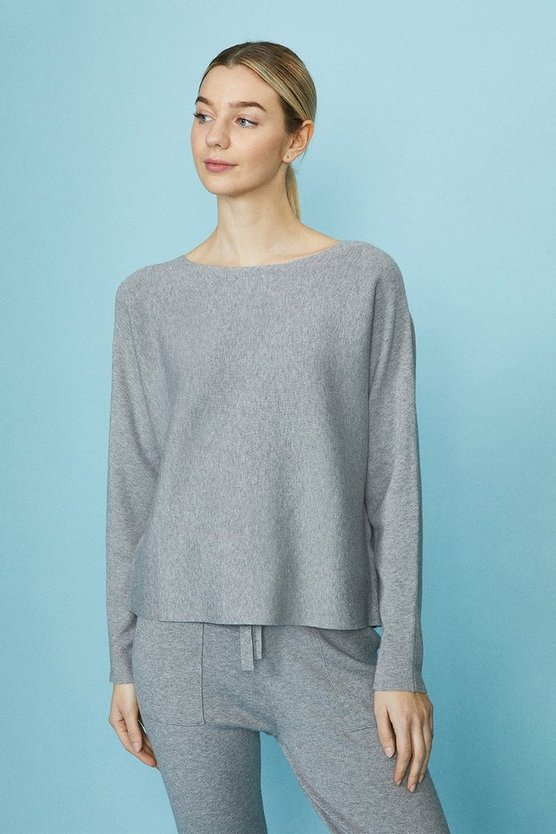 Grey Brushed Knit Top