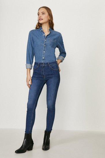 Mid blue Paris Organic Cotton High Rise Skinny Jean