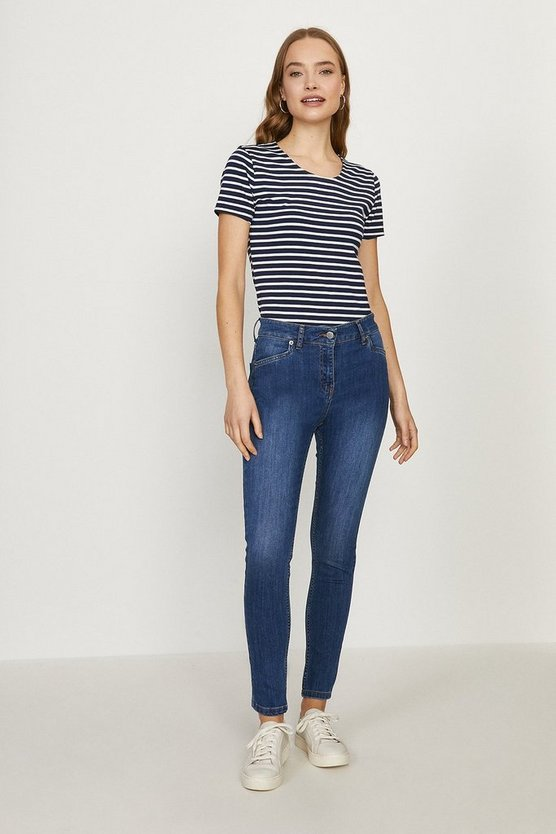 Mid blue Prague Organic Cotton Mid Rise Skinny Jean