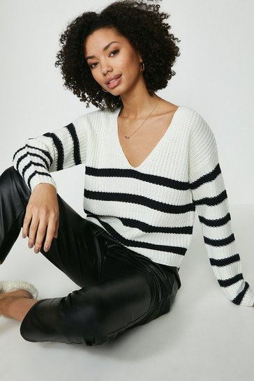 Ecru Brave Soul V Neck Striped Jumper