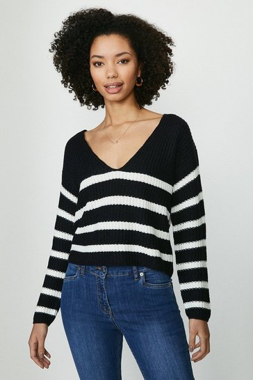 Navy Brave Soul V Neck Striped Jumper