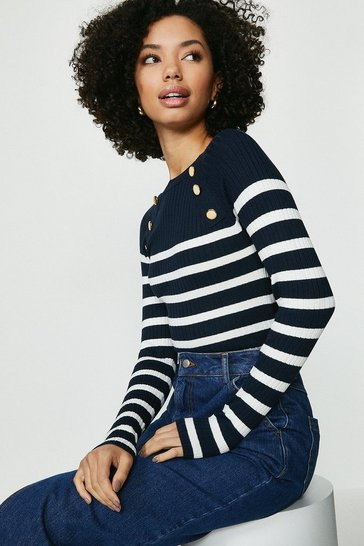 Navy Brave Soul Striped Button Detail Ribbed Jumper