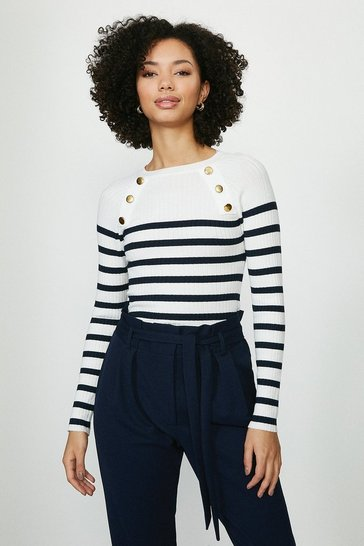 White Brave Soul Striped Button Detail Ribbed Jumper