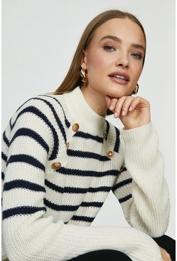 White Brave Soul Stripe Jumper With Button Detail
