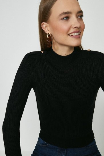 Black Brave Soul Button Shoulder Tab Detail Jumper