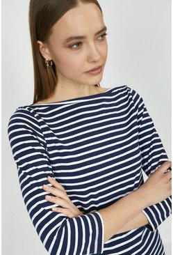 Navy Stripe Slash Neck Organic Cotton Top